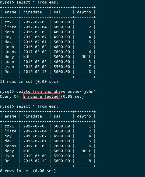 MySQL条件删除