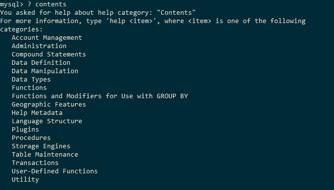 MySQL Help Contents